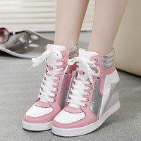 Womens Lace Up Hidden Wedge Heel High Top Led Sports Light Sneakers Shoes pLUS