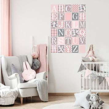 Gray and Millennial Pink Alphabet Block Wall Decals, Fabric Wall Stickers