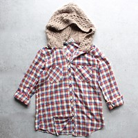 Final Sale - Boyfriend Plaid Shirt with Knit Hood - Red