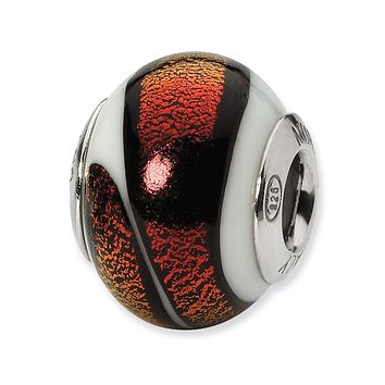 White/Red Italian Murano Glass Bead & Sterling Silver Charm, 14mm