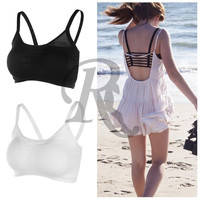 1pc Hot 2015 Fashion New Sexy Women Cotton Hollow Back Midriff Shirt Tank Top Padded Bra Wrap Vest Chest Sport Bra Crop Tops