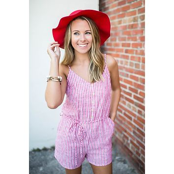 Jump With It Linen Romper - Red