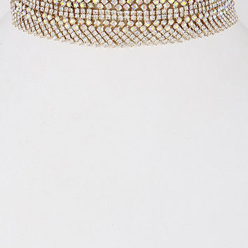 """12"""" gold clear crystal choker collar necklace 1.50"""" wide bridal prom pageant"""