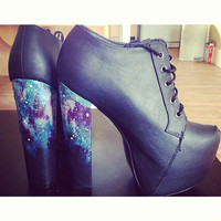 galaxy print customised block high heels