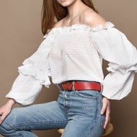 Laurel Off The Shoulder Puff Sleeve Blouse - White