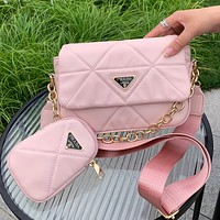 PRADA new product solid color sewing thread flap shoulder bag two-piece crossbody bag Pink