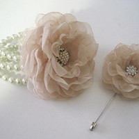 Gorgeous Champagne Chiffon Wrist Corsage Boutonniere Set with Pearl and Rhinestone Accents Prom Homecoming Winter Formal Wedding
