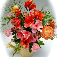Floral Arrangement with Peach, Coral and Pink Flowers in Yellow Watering Can,Table Arrangement, Centerpiece Summer Floral