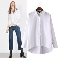 Stylish Long Sleeve Irregular Women's Fashion Shirt [5013237060]
