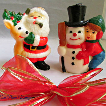 Christmas Novelty Wax Candles Santa Reindeer Snowman Boy Vintage Holiday MCM Decor Two