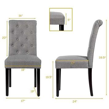 Set of 2 Tufted Dining Chair -Gray - Color: Gray