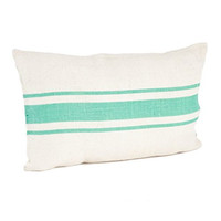 Colorful Striped Coastal Jute Throw Pillow (Sea Green, 23-in Lumbar)