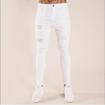 Men's Washed Skinny Long Pants Jeans with Holes