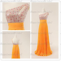 A-line One-shoulder  Floor-length Chiffon Sequins Beading Long Formal Dress Prom Dress Formal Evening Dress Party Dress Cocktail Dress 2013