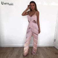 Runway Sexy Jumpsuit Women 2018 Pink Jumpsuit Strappy Sleeveless Tassels Palysuit For Women Rompers V Neck Party Jumpsuits