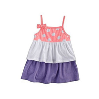 Beach Baby Polka Dot Tiered Baby Doll Tank for Toddlers Girls (4T, Coral Dots)