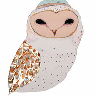 Owl Decor. My Owl. limited edition owl art (100 prints). Size A3 (16.54in by 11.69in). Barn Owl print.