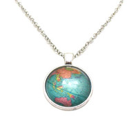Globe Necklace, Map Pendant, Map Jewelry, Explore Necklace, Travel Necklace, World Map, Map Necklace, Travel Jewelry, World Globe Charm