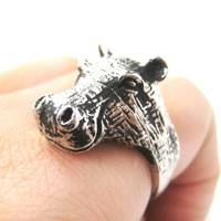 Realistic Hippo hippopotamus Shaped Animal Ring in Silver | US Size 7 and 8
