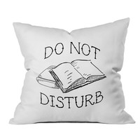 Do Not Disturb Book Lovers 18x18 Inch Throw Pillow Cover