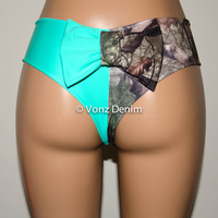 Camo & Mint Cheeky Bikini Bow Bottoms, Hips Brazilian Bikini Bottoms, Seamless Reversible Boy Shorts