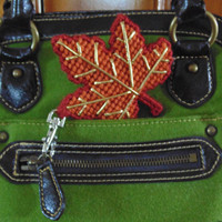 Maple Leaf Needlepoint Charm for Bag and Backpack, Zipper Pull Charm