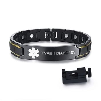 Medical Alert ID Bracelets TYPE 1 DIABETES Mens Bracelets Black Stainless Steel with Magnets Pain Relief Energy Emergency Reminder Personalized Jewelry FREE SHIPPING