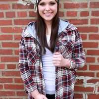 Southern Plaid Button Up {White/Navy/Red}