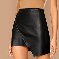 Solid Asymmetrical Hem Glamorous Faux Leather Skirt Women High Waist Wrap Front Zipper Ladies Sexy Mini Skirts