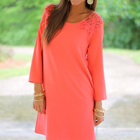 Crochet Winged Dress, Coral