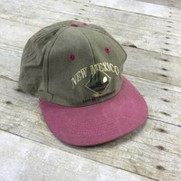 Vintage 90s New Mexico Land of Enchantment Pink Brim Snapback Dad Hat