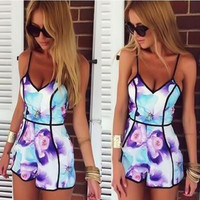 Floral Printed Off Shoulder Spagehetti Strap Romper Trousers Pants _ 1767