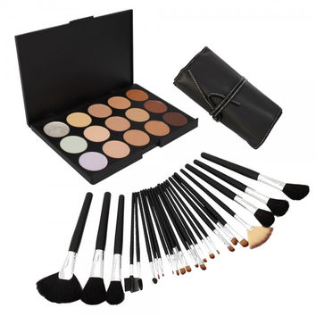 15 Color Camouflage Concealer Palette with 24pcs Makeup Brush Set