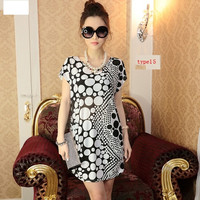 Korea Ladies O-neck Short Sleeve Loose Varieties Of Style Dress
