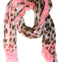 Pilot Charlotte Leopard Print Scarf in Coral