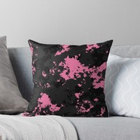 'pink black and gray splatter' Throw Pillow by Christy Leigh