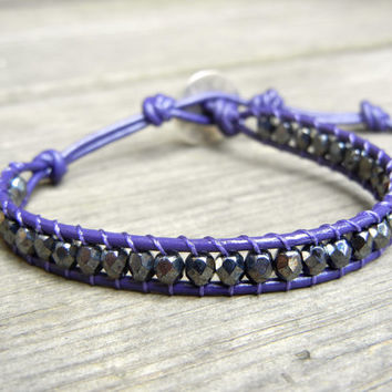 Beaded Leather Single Wrap Stackable Bracelet with Hematite Gray Czech Glass Beads on Purple Leather