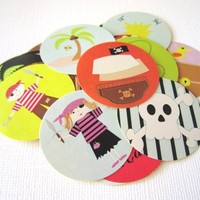 Cute Pirate Stickers for Birthday or Baby Shower Party Label