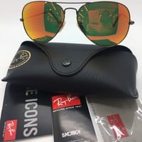 Cheap RAY BAN RB3025 167/2K AVIATOR RED ORANGE MIRROR 58-14 SUNGLASSES NEW w. CASE!!! outlet