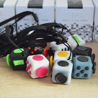 11 colors 2017 new fidget cube Keychains the worlds first American decompression anxiety toys Keyring 2.2*2.2cm free shipping C1670