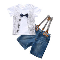 baby boys clothing clothes shirts suspender trousers gentleman set 3 pieces