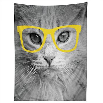 Allyson Johnson Hippest Cat Yellow Tapestry