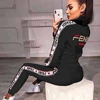 FENDI Fashion Women High Collar Long Sleeve Top Pants Trousers Set Two-Piece