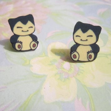 Snorlax Earrings, Pokemon Earrings, Pokemon Accessories, Gamer Girl, Nerd Accessories, Snorlax Jewelry, Novelty, SMALL