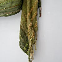 Boho Green Cotton Scarf, Vintage Bohemian Summer long Stripes Fringed India Scarf Hippie Gypsy 70s style Festival Fashion Accessories Unisex