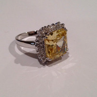 Vintage Sterling Silver Yellow Diamond Estate Jewelry Ring