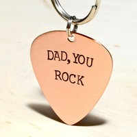 Dad Guitar Pick Copper Key Chain for a Rocking Fathers Day