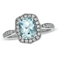 Cushion-Cut Aquamarine and Lab-Created White Sapphire Frame Ring in 10K White Gold - View All Rings - Zales