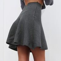 Draped knitted short skirts womens Casual a-line mini skirt pleated Elegant high waist skater skirt female
