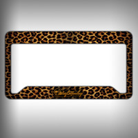 Leopard Custom Licence Plate Frame Holder Personalized Car Accessories